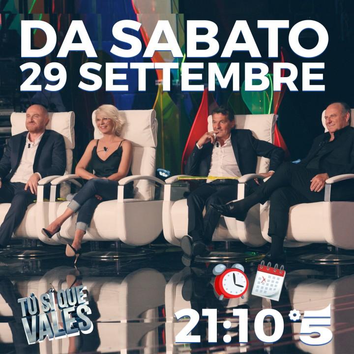 Sabato 29 settembre inizia la quinta edizione di Tù Sì Que Vales!